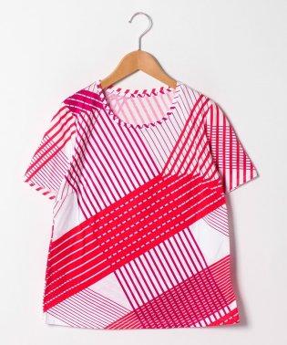 【大きいサイズ】【洗える】マルチストライププリントコットン天竺Tシャツ