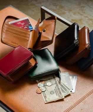 MURA 二つ折り財布 ファスナー 財布 メンズ 本革 レザー BOX小銭入れ ラウンドファスナー