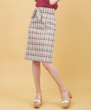 【sweet5月号掲載】麻調合繊チェックタイトスカート