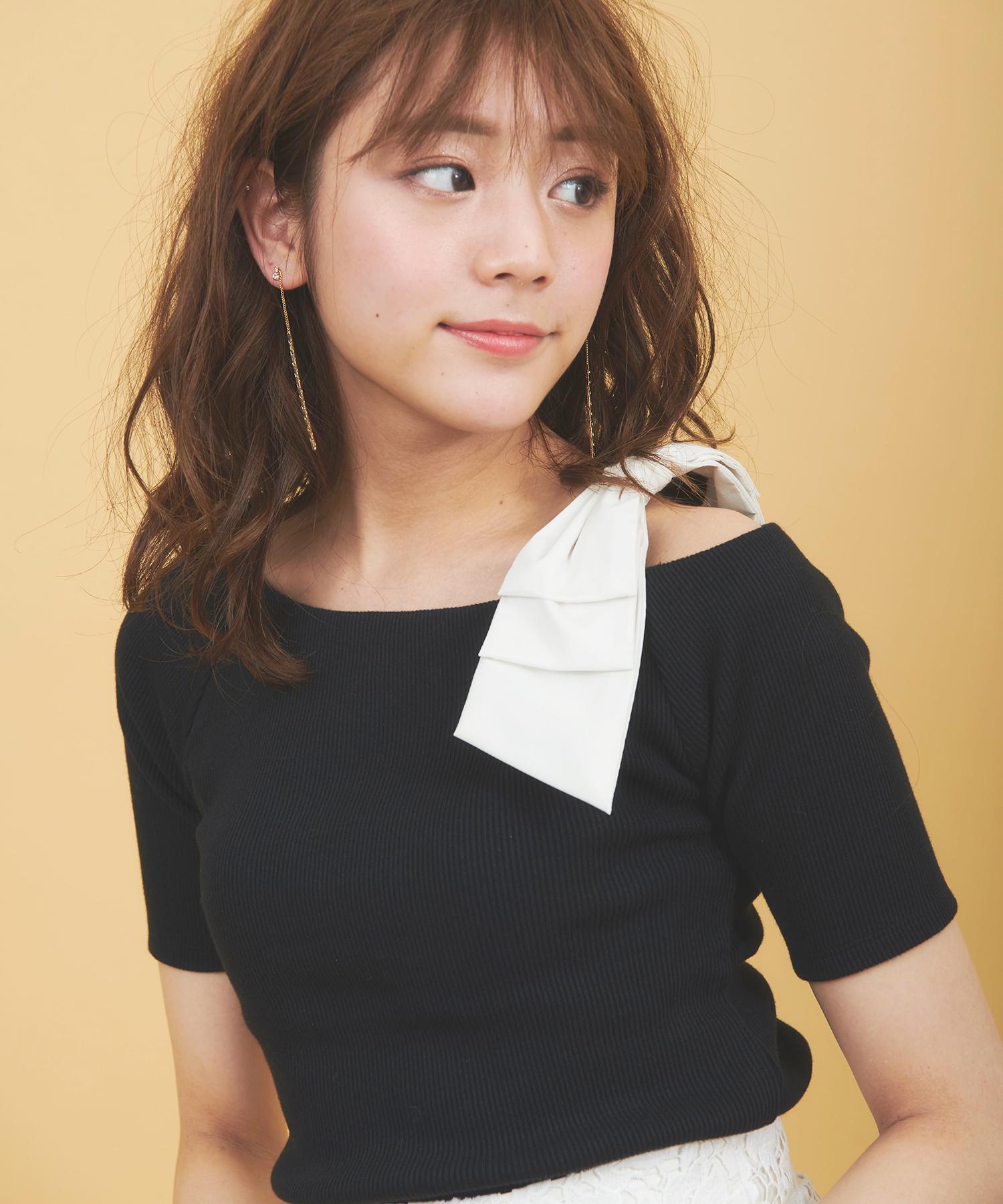 【sweet5月号掲載】テレコアシメショルダーリボンTシャツ