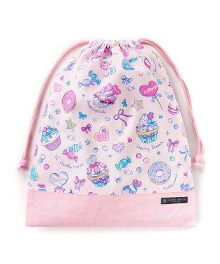 巾着 大 体操服袋 ミルキースイーツのキャンディアラモード × オックス・ピンク