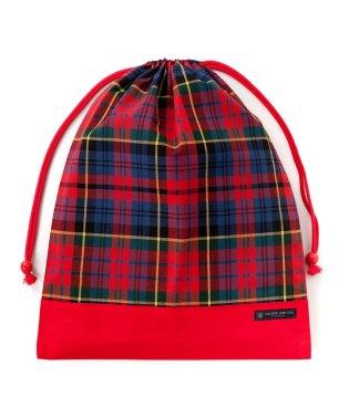 巾着 大 体操服袋 タータンチェック・レッド × オックス・赤