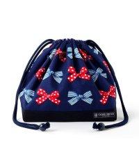 巾着 中 マチ有りお弁当袋(ネームタグ付き) ポルカドットとストライプのフレンチリボン(ネイビー)×オックス・紺