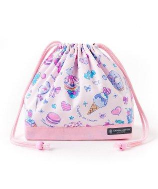 巾着 中 マチ有りお弁当袋 ミルキースイーツのキャンディアラモード × オックス・ピンク