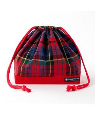 巾着 中 マチ有りお弁当袋 タータンチェック・レッド × オックス・赤