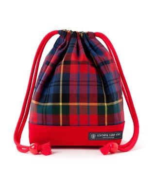 巾着 小 コップ袋 タータンチェック・レッド×先染・赤