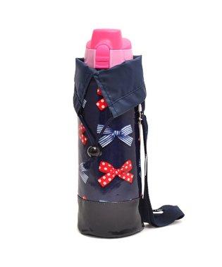 水筒カバー ラージタイプ ポルカドットとストライプのフレンチリボン(ネイビー)