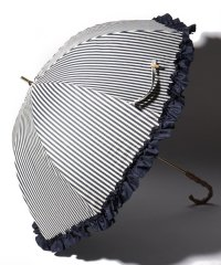 完全遮光 晴雨兼用 長傘 フリルストライプ 遮光率100% 遮蔽率100% 1級遮光 遮熱 軽量 UVカット