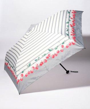 BE SUNNY ビーサニー スリム3段折りたたみ傘 チェリーボーダー ポーチ付  (晴雨兼用 UVカット 紫外線カット 耐風 軽量 撥水)