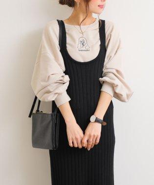 【B-4】女の子刺繍 裏毛 スウェット トップス ボリューム袖