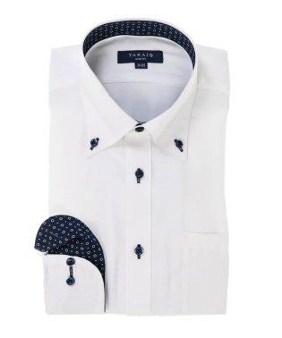 形態安定スリムフィットボタンダウン長袖ビジネスドレスシャツ