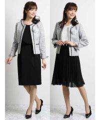 ツイードノーカラージャケット+スカート+ワンピース 白黒