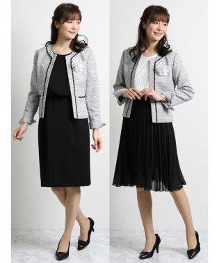 ツイード3ピーススーツ(ノーカラージャケット+ジョーゼットプリーツスカート+半袖ワンピース)白黒