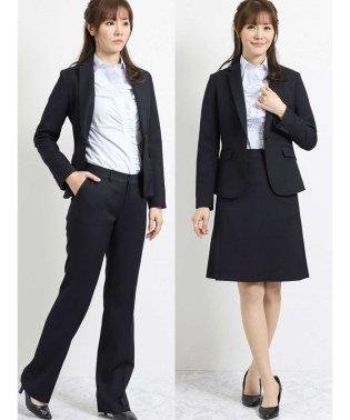 ストレッチウォッシャブル3ピーススーツ(1釦ジャケット+ストレートパンツ+マーメイドスカート)紺ストライプ
