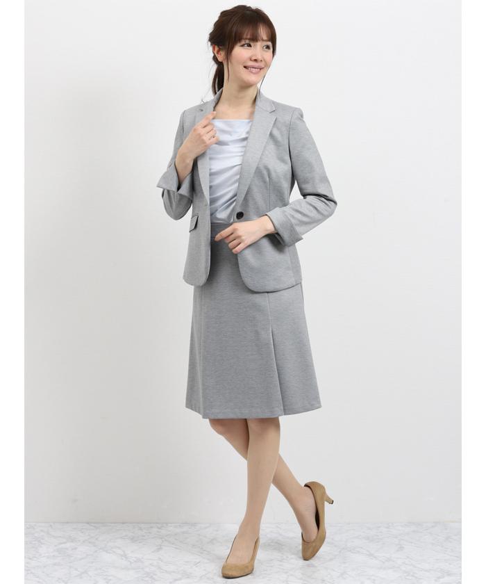 ストレッチポンチ2ピ-ススーツ(1釦テーラードジャケット+フレアスカート)グレー