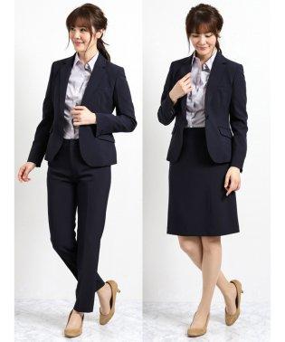 ストレッチウォッシャブル3ピーススーツ(1釦ジャケット+フレアスカート+テーパードパンツ)紺ストライプ