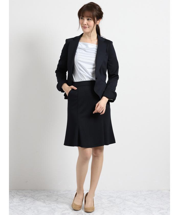 ストレッチウォッシャブル2ピーススーツ(1釦ジャケット+フレアスカート)紺