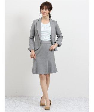 ストレッチウォッシャブル ポンチ1釦ジャケット+スカート グレー