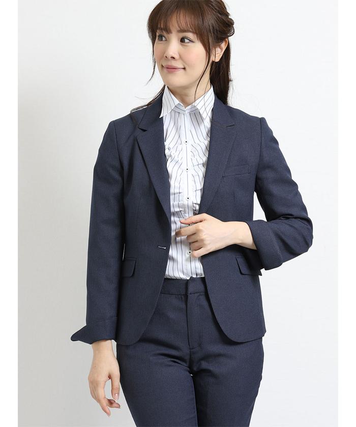 トラベスト 1釦ジャケット+スカート+パンツ 青バーズアイ