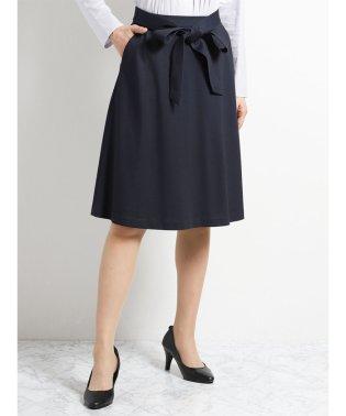 ストレッチポンチ セットアップフレアースカート 紺カルゼ