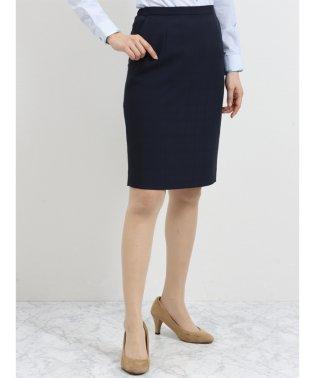 ストレッチウォッシャブル セットアップタイトスカート 紺シャドーチェック