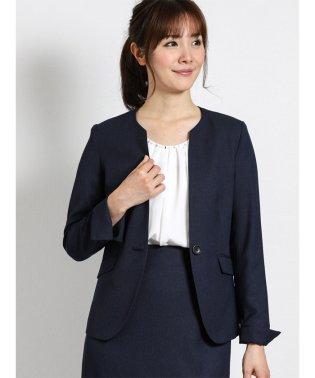 ハンドウォッシャブル セットアップ1釦キーネックジャケット 紺オックス