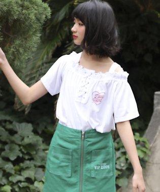 【ニコプチ掲載】ストレッチツイル配色ステッチスカート