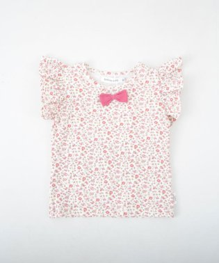 小花柄袖フリルTシャツ(70~90cm)