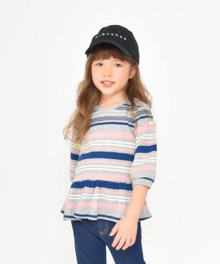 マルチボーダーワッフル7分袖Tシャツ(80~150cm)