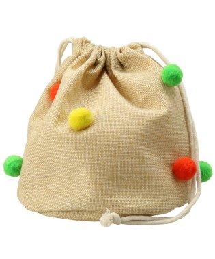 ボンテン付き巾着バッグ