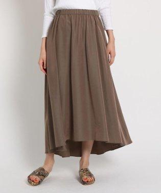 【洗える】ウエストゴム ヘムデザインマキシスカート