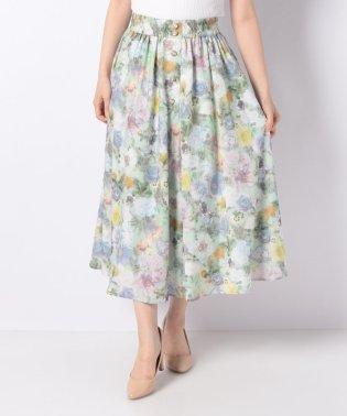 ぼかし花柄ロングスカート