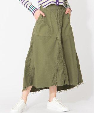 【YANUK/Baker Flare Skirt】リメイク風ミモレ丈スカート