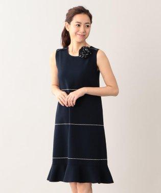 バイカラーフリルニットドレス