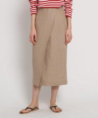 先染リネン ラップ風タイトスカート