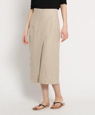 リネンストライプラップタイトスカート