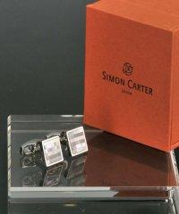 サイモンカーター  simon carter スクエアデザイン モザイク ブルー カフリンクス カフス