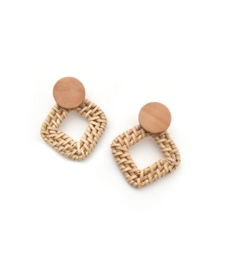 SQUARE RATTAN PIERCE & EARRING
