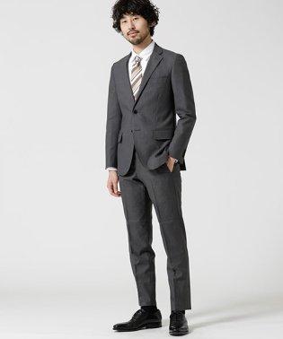 【WEB限定】スーツ+ヘリンボーン+スリム+グレー