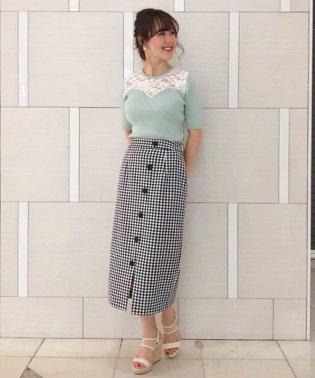 フロントボタンロングタイトスカート