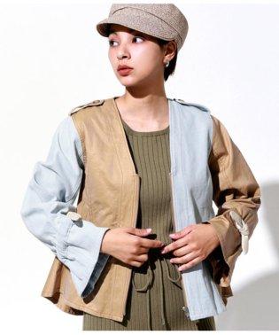 デニム×チノリメイク風ペプラムジャケット