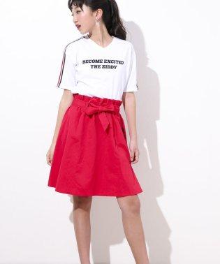 【ニコプチ掲載】リボン付きヒザ丈ツイルスカート