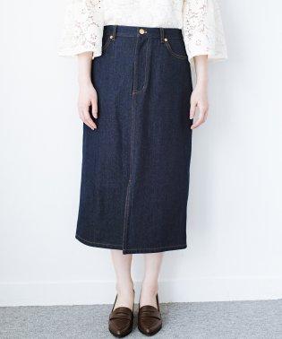 大人のためのIラインシルエットのデニムタイトスカート by que made me