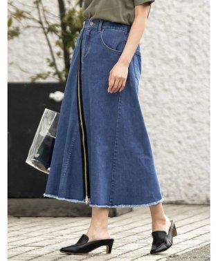 フロントジップ切替えタイトスカート