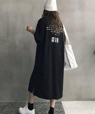 NANING9(ナンニング)バックプリントTシャツワンピース-1