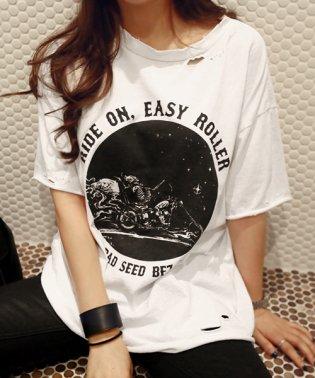 NANING9(ナンニング)RIDEONダメージTシャツ-1