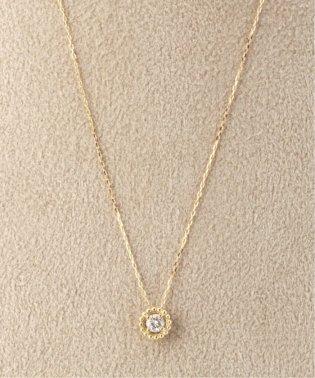 18KYG 0.1ct ダイヤモンド ミルネックレス