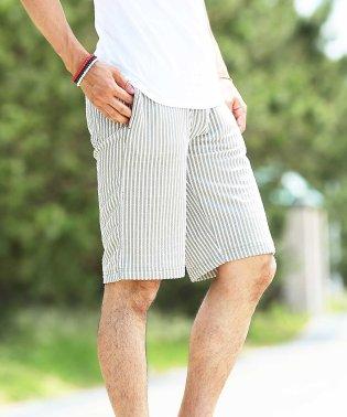シアサッカーストレッチショートパンツ / ハーフパンツ メンズ ショートパンツ 短パン 膝上 おしゃれ ボトムス