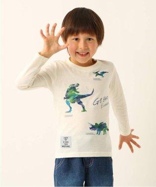 【100cm~150cm】恐竜プリント長袖Tシャツ