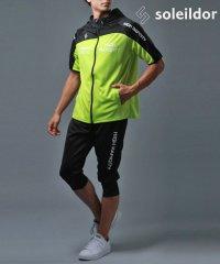 【別注】【セットアップ】半袖パーカージャージ+クロップドパンツ 上下セット  胸切り替え ランニング トレーニングウェア